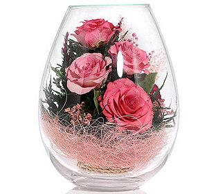 Rosen im Glas ca. 18 cm