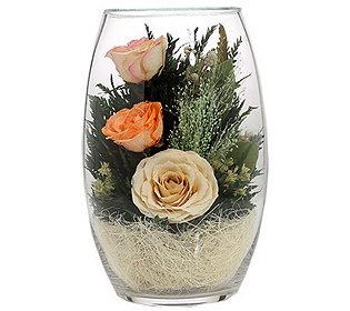 Rosen im Glas ca. 20 cm