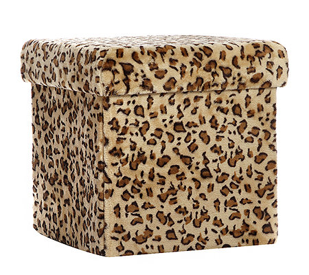 BELSEDIA Hocker klappbar multifunktional Fell-Optik ca. 40x40x40cm
