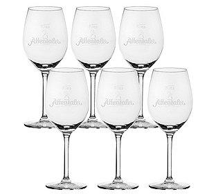 6 Weingläser mit Logo