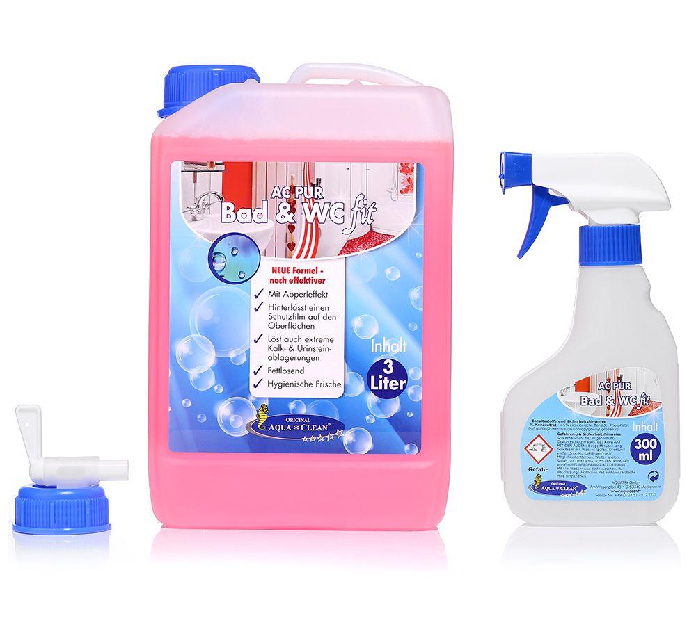 AQUA CLEAN PUR Bad U0026 WC Fit Konzentrat Effektive Wirkung 1x 3l Page 1  U2014 QVC