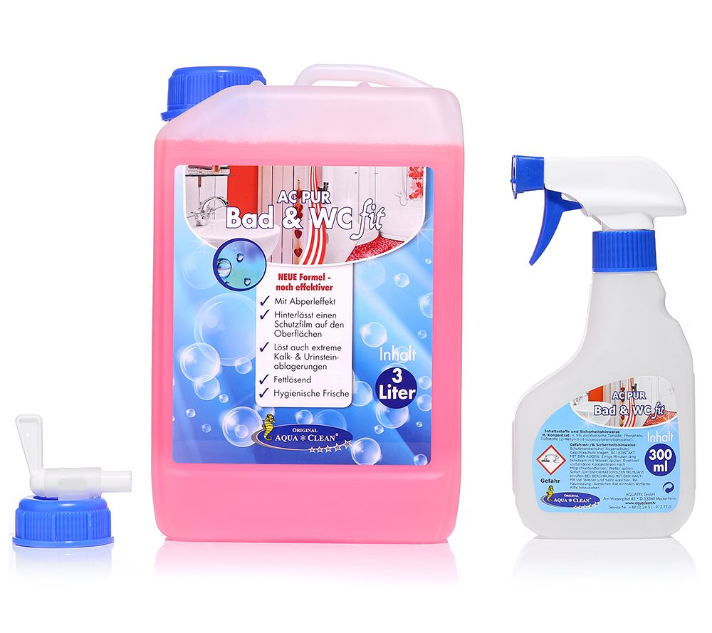 AQUA CLEAN PUR Bad U0026 WC Fit Konzentrat Effektive Wirkung 1x 3l   Page 1 U2014  QVC.de
