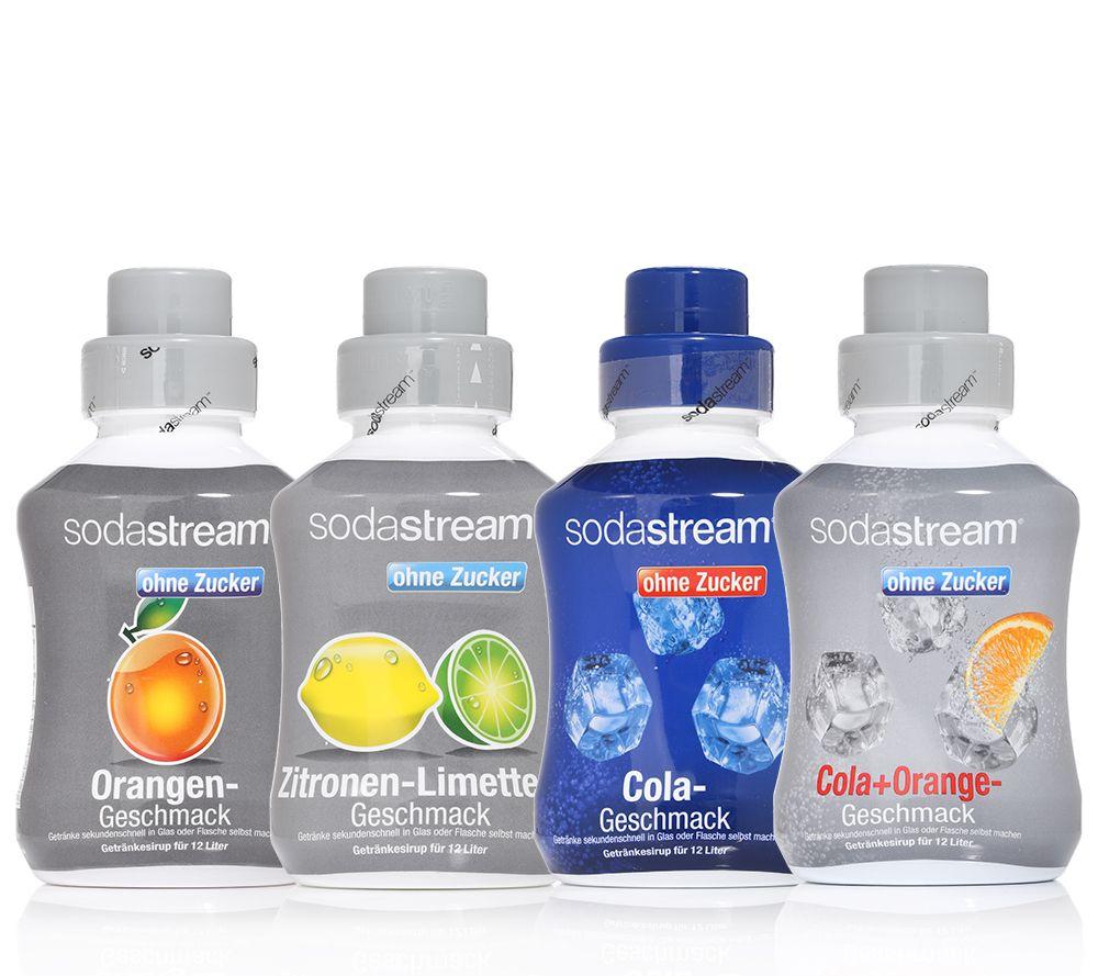 SODASTREAM Getränkesirup zuckerfrei 4 Flaschen für 48l je 500ml ...
