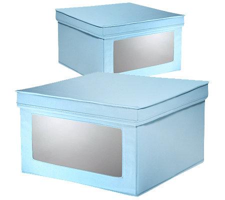 aufbewahrungsbox durchsichtiges fenster vorne 40x24x40cm 2 st ck. Black Bedroom Furniture Sets. Home Design Ideas
