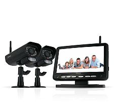 "Discount Electronics On Sale Digital Wireless 2-Camera DVR Security System w/7"" LCD Monitor"