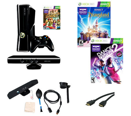 Xbox 360 250GB Kinect Bundle with 3 Games & Accessories