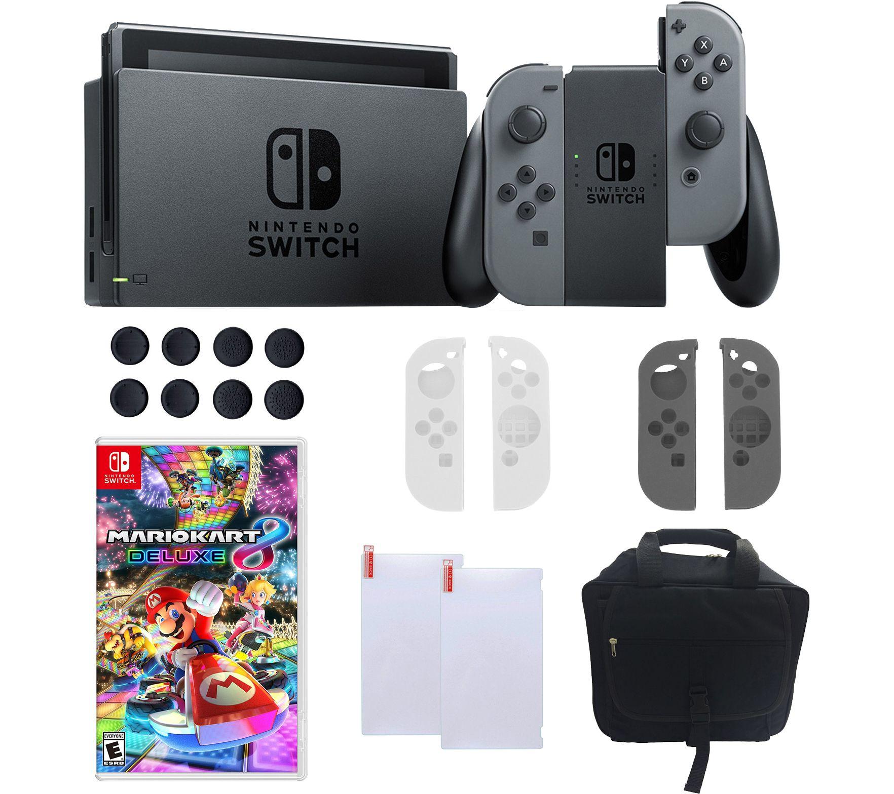 Nintendo switch console with gray joy con mario kart 8 for Housse nintendo switch mario