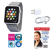 Apple Stainless Steel Watch 42mm, Milanese Loop& Tech Support - E285806