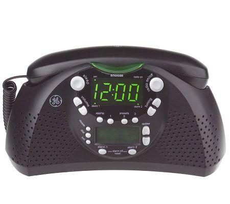 ge dual alarm am fm clock radio and bedroom phone w caller id