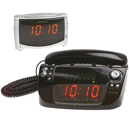 emerson smartset am fm clock radio w phone bonus alarm clock. Black Bedroom Furniture Sets. Home Design Ideas