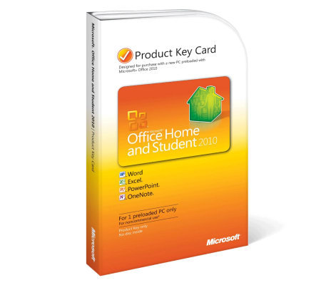Microsoft Office 2010 Home & Student Product Key Card