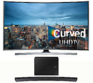 Samsung 78  LED 4K UHD Curved Smart TV w/ Curved Sound Bar - E287216