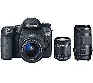 Canon EOS 70D 20.2MP DSLR w/ 18-55mm Lens & 70-300mm Zoom Len - E273519