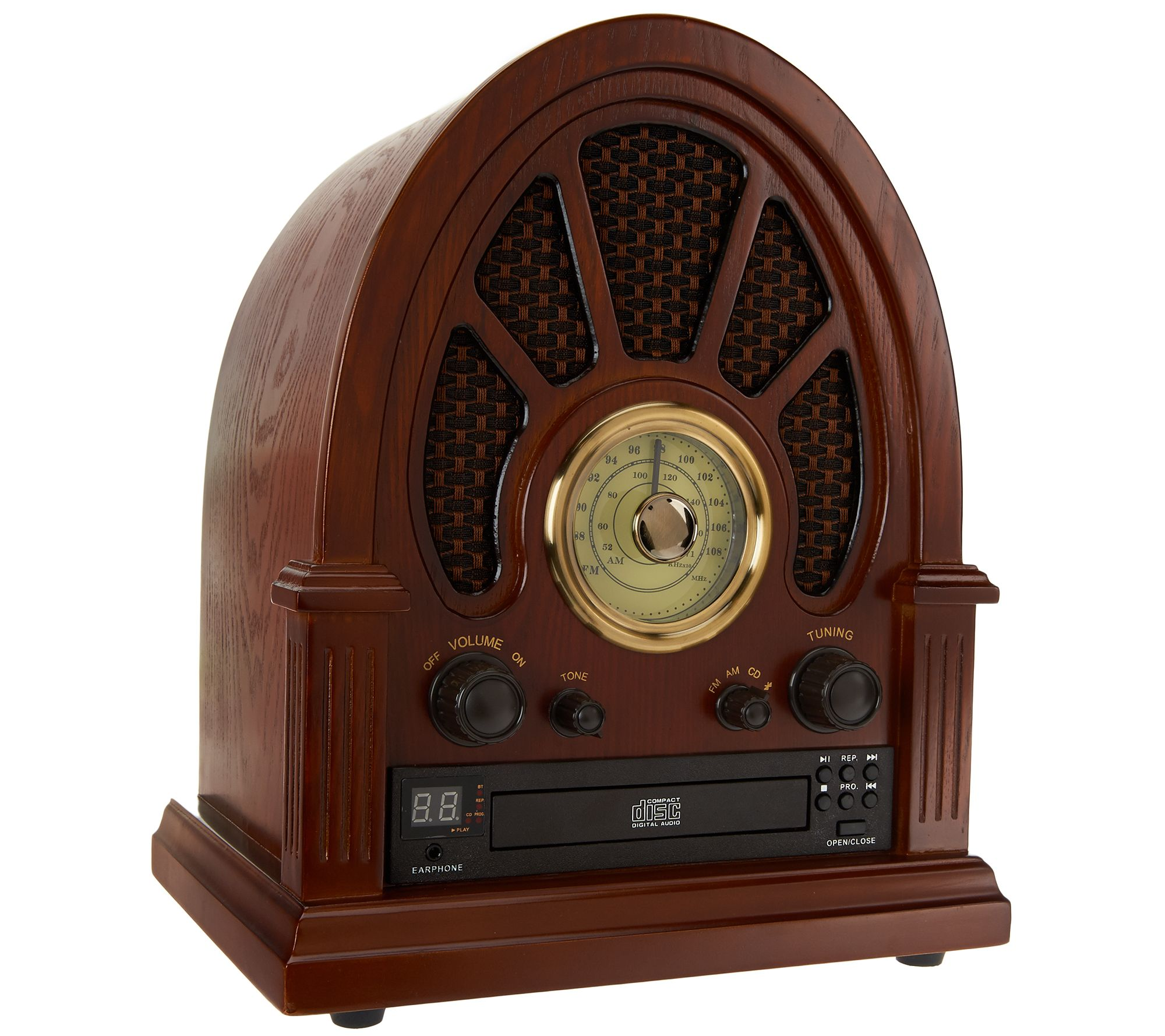 Vintage Wooden Radio w/ CD Player, AM/FM Radio & Bluetooth