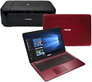 ASUS 15 Laptop Windows 10 8GB RAM, 1TB HD w/ 2YR Warranty & Canon Printer - E229524