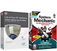 McAfee Antivirus and System Mechanic Life of 1 PC - E228825