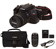 Canon Rebel T6 18MP DSLR Wi-Fi Camera with 18-55,75-300mm Lenses & Accs. - E231526