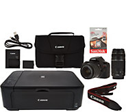 Canon Rebel T6 18MP DSLR Wi-Fi Camera w/18-55, 75-300mm Lens & MG3620 Printer - E229627