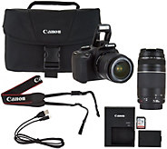 Canon Rebel T6 18MP DSLR Wi-Fi Camera w/18-55, 75-300mm Lens, Bag & Software - E230027
