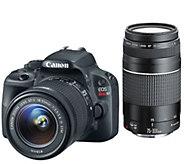 Canon Rebel SL1 18MP DSLR w/ 18-55mm & 75-300mm USM Lenses & Accs. - E227328