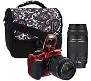 Canon Rebel T5 18MP DSLR Camer w/ 18-55mm & 75-300mm USM Lenses & Accs. - E227329