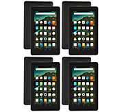 Amazon Fire 4-Pack of 7 Tablets with 4 MatchingCases & 4 App Bundles - E229633