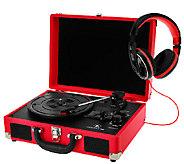 Nostalgic Suitcase Bluetooth Turntable w/ Headphones - E227936