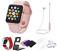 Apple Watch Series 3 38mm w/ Bluetooth Earbuds & Accessories - E231536