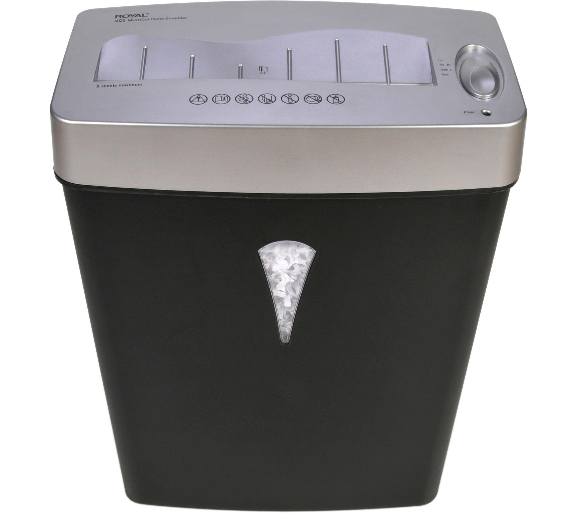 royal mc6 6 sheet micro cut shredder with liftoff basket e230843 - Home Shredders