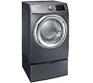 Samsung 7.5 Cu.Ft. Electric Dryer w/ Steam & Pedestal-Platinu - E278644