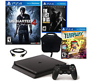 PS4 Slim 500GB Uncharted 4 Bundle with 3 Games& Accessories - E289944