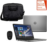 Dell 15 Laptop AMD Quad Core, 8GB RAM, Tech, w/ Case, Mouse, & MS Office 365 - E230452