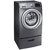 Samsung 4.2 CuFt Front Load Washer w/ Steam &Pedestal Platinu - E278652