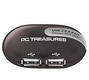 4-Port Deluxe Mini USB Hub Featuring Cable Compartment - E220054
