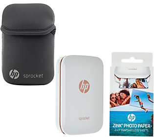 HP Sprocket Portable Photo Printer for Devices w/Case, Paper & SkinIt