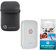 HP Sprocket Portable Photo Printer for Devices w/Case, Paper & SkinIt - E230654
