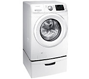 Samsung 4.2 CuFt Front Load Washer w/ Steam &Pedestal - White - E278654