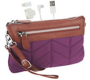 Handbag Butler Quilted Nylon 2-in-1 Bag with 3000 mAh Cell Phone Charger - E225956