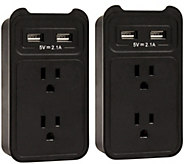 Set of (2) ChargeIt! USB Wall Charger Outlet Valet - E228856