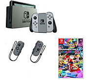 Nintendo Switch w/ Gray Joy-Con, Mario Kart 8& Controllers - E291256