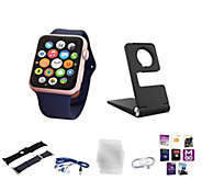 Choice of Apple Series 1 Watch 38MM or 42MM w/ 2 ExtraBands Stand & AppPack - E230357