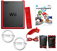 Nintendo Wii Mini Red Mario Kart Bundle with Accessories - E283558