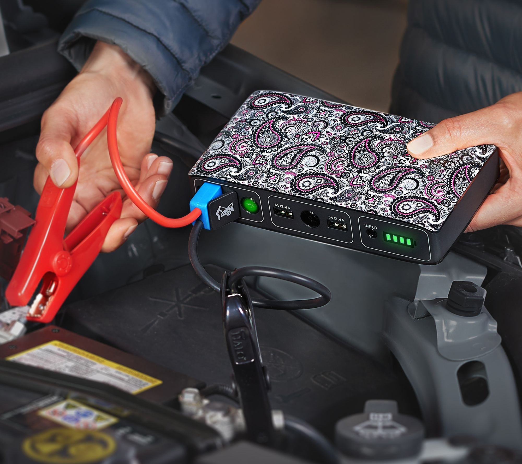 Halo bolt portable charger car jump starter w led floodlight page 1 qvc com