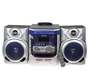 Sharp 200 Watt Shelf Stereo System W 3 Cd Changer Amp Dual