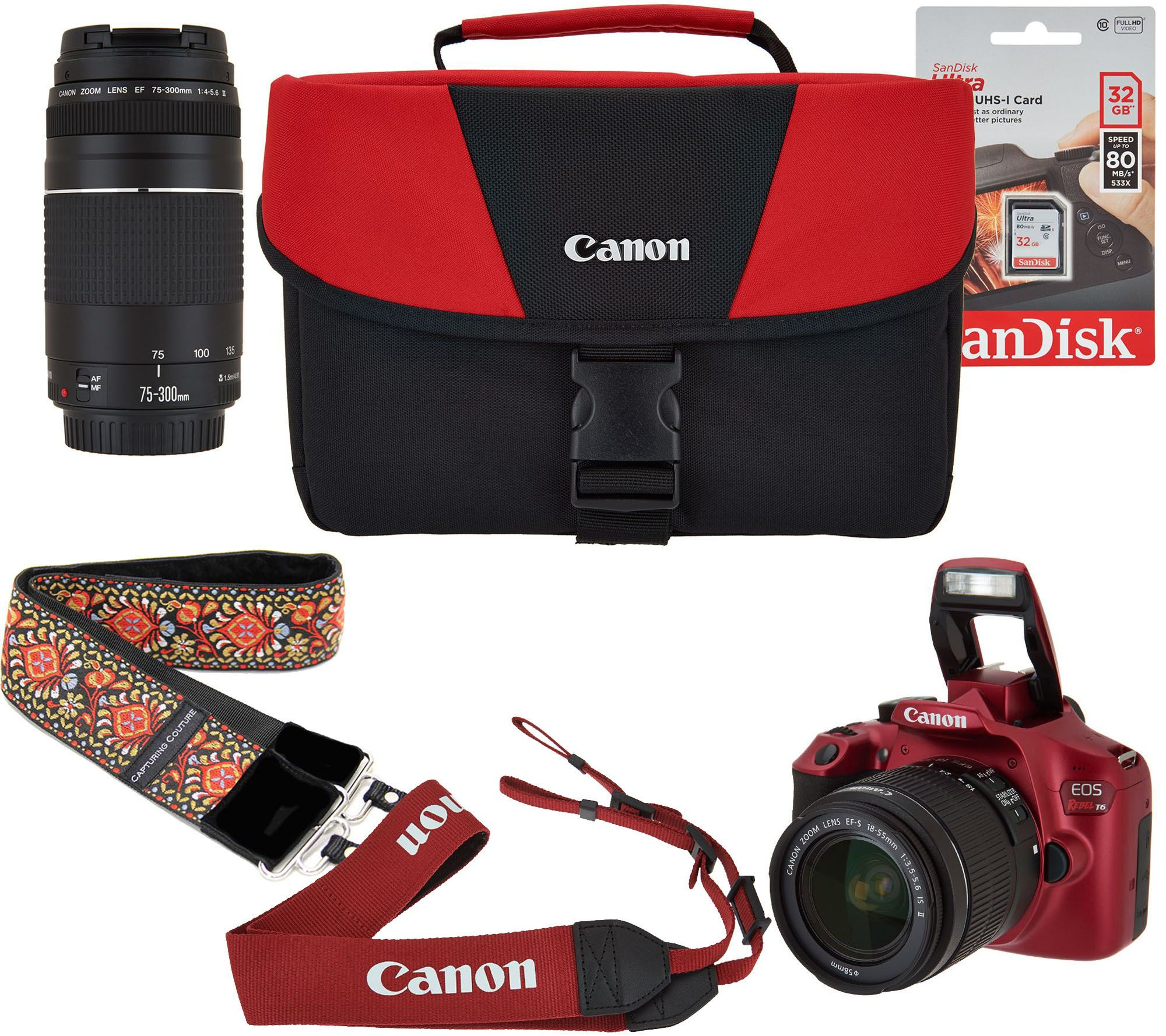 Canon Rebel T6 18MP DSLR Wi-Fi Camera with 18-55, 75-300mm Lens ...