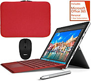 Microsoft Surface Pro 4 Red Keyboard, w/Sleeve, Mouse Stylus & Office - E230466