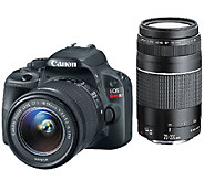 Canon EOS Rebel SL1 DSLR Camera w/ 18-55mm, 75-300mm SD Card & Bag - E226767