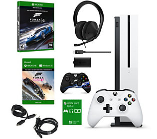 Xbox One S 1TB Forza Bundle with 2 Games, Headset, and Charge Kit