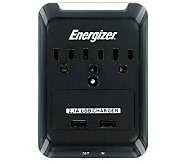 Energizer 3-Outlet Wall Tap   2 USB Ports - E266868