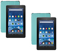 Amazon Fire 2-Pack of 7 Tablets 16GB w/ Alexa, 2 Cases & 2 App Bundles - E230375